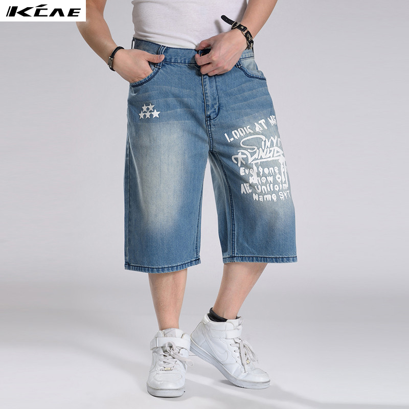 2016 New Mens Baggy Jeans Shorts Multi Pockets Denim Shorts Hip Hop Loose Skatboard Shorts Plus Size 30-46Îäåæäà è àêñåññóàðû<br><br>