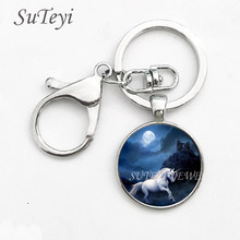 NEW ARRIVAL Super Cute Dome Glass Unicorn Art Photo Keychain Pendant Bag Charms Handbag Accessory Purse Ornament Key ring