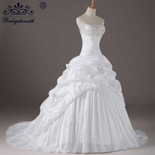 Satin Wedding Dress Ball Gown Woman Long Train High Quality Bling Beads Strapless Wedding Dresses Lace Vestido De Noiva China