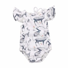 Summer Cute Baby Girl Belt Romper Deer Rabbit Animal Rose Print Little Angel Style Clothes Girl's Babies Girl Body Suit