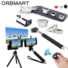 ORBMART 6 in 1 Extendable Handheld Monopod + Bluetooth Remote Camera Control + Fish Eye Lens Macro Wide Angle Lens Kits