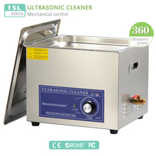 360W Stainless Steel Ultrasonic Cleaner 15L +basket/Knob Control Ultrasonic Washer 40KHz motherboard auto parts PS-60T (DK)