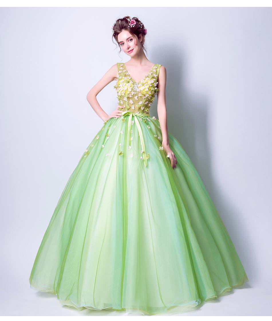 Angel Wedding Dress Marriage Bride Bridal Gown Vestido De Noiva 2017Soft powder, Qingjian Lvxian beauty, petals, green 9718 10