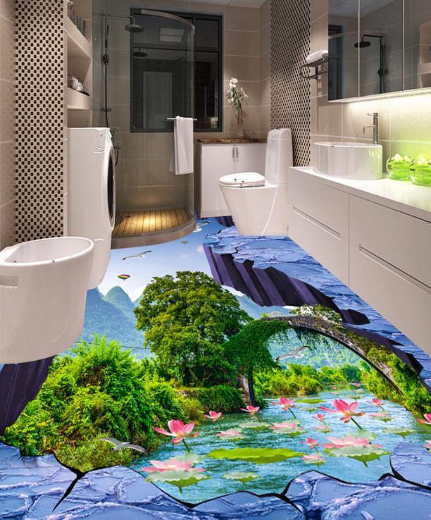 Customize Photo Printing Birds Creek lotus Flooring Wallpaper 3D Universe Floor WallpaperPVC self-adhesive Floor <br>