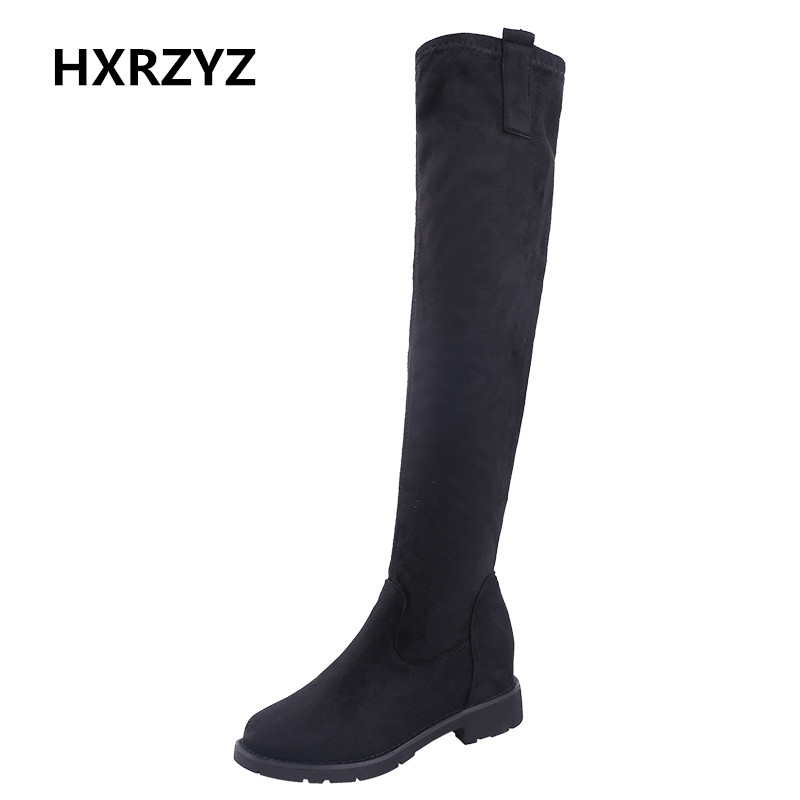 HXRZYZ women suede over the knee boots female black long boots autumn/winter new fashion warm elastic stretch flock women shoes<br>