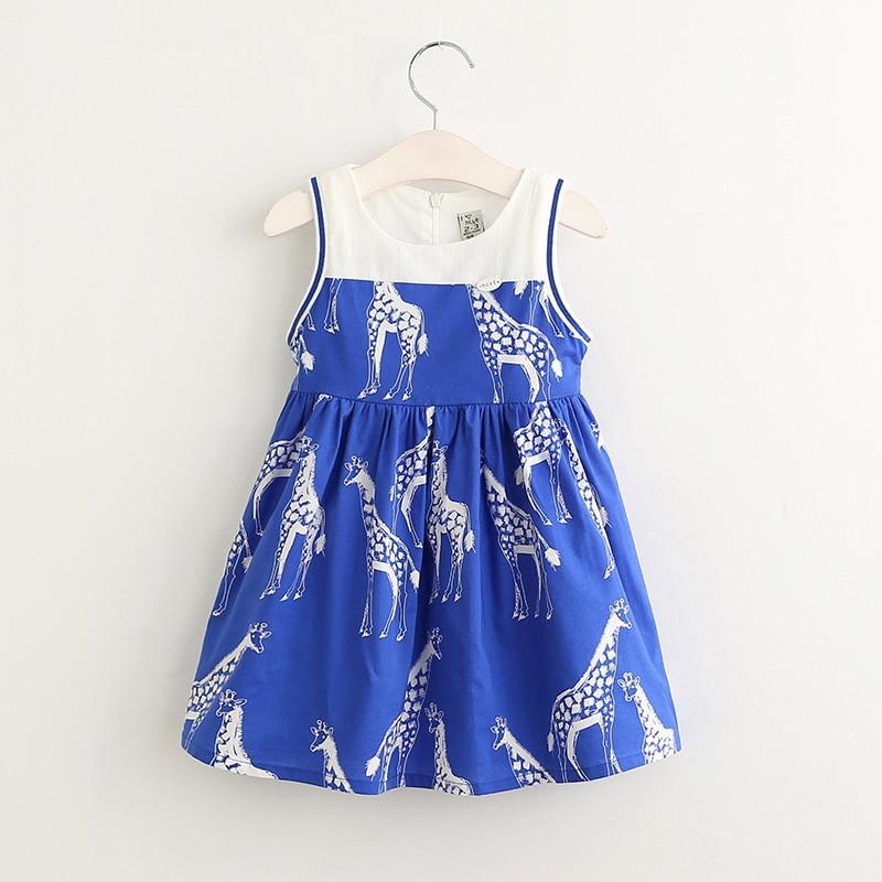 Summer Brand 2017 Fashion Dresses For Girls Lovely Giraffe Printing Children Clothes Girls  Party Sleeveless Girls Dress 3~8T<br><br>Aliexpress