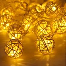 L&R 20 Rattan Ball Led String Fairy Lights Christmas Tree Ornaments Xmas Decoration Warm White LED Lights Home Garden Decor