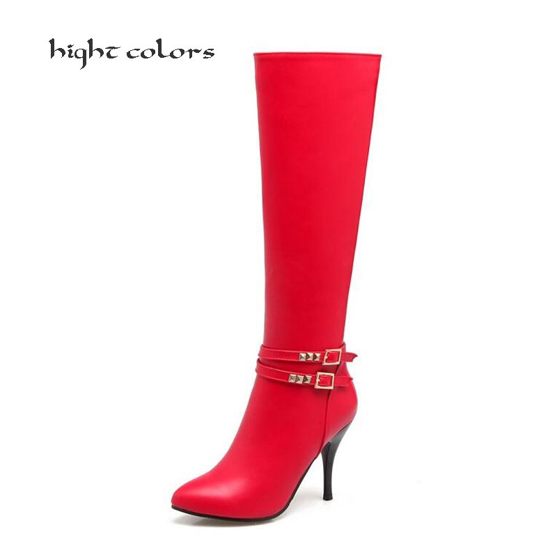 hight colors 2018 New Women Motorcycle Boots Sexy Fashion Knee Boots Sexy Thin Square Heel Boot Red Woman Shoes Black size 34-43<br>