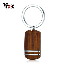 Vnox Wood Key Chain for Men Women Top Quality Rosewood Wooden Stainless Steel Key Ring Holder Male Jewelry(China)