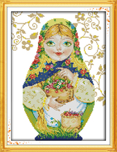 Russian Doll(8)Cotton DMC Cartoon Cross stitch kits 14ct white 11ct Print Embroidery DIY Handmade Needlework Set Wall Home Decor