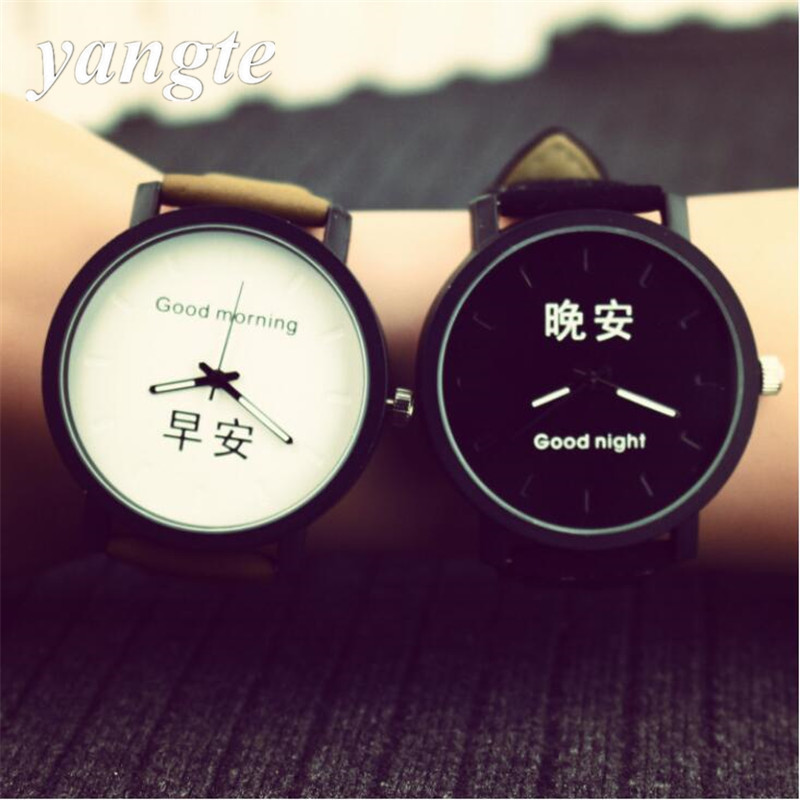 YANGTE Unisex Leather Strap Watches Men Luxury Dial Men Watch For Lovers Black White Lady Quartz Sport Women Dress Watch B319