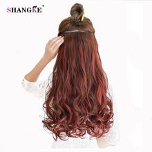 SHANGKE 24'' 120g Long Colorful Hair Extension 5 Clip In Hair Extension Heat Resistant Synthetic Fake Hairpieces 15 Colors(China)