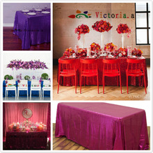 Custom made Rectangle Sequin Tablecloth for Wedding/Party/Events Tablecloths Decoration can custom made any color or any Size(China)