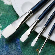 4pcs/set White Nylon Hair Painting Brush Set Gouache Watercolor Oil Acrylic Drawing Brush Pen Artist Using Supplies