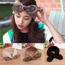 Autumn Winter Women Headband Crochet Bow Knot Head Wrap Ear Warmer Hair Band