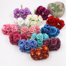 6pcs Silk 3.5cm Dendranthema Artificial Flower For Wedding Party Home Chrysanthemum Decoration Handmade Florists Craft Flower
