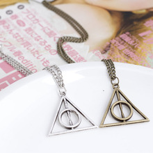 Wholesale 12pcs/lot Harry Luna Deathly Hollow Pendant Necklace Men's Jewelery Colar Movie Fashion Long Chain Triangle Necklace(China)