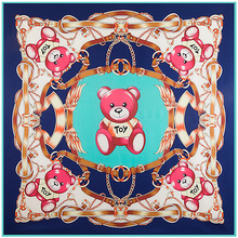 130cm*130cm Women 2017 New Fashion Twill Silk Euro Brand Cute Cartoon Little Bear Toy Printed Square Scarf Hot Sale Femal Wrap