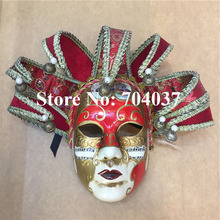 (36 pieces/lot) New red color Handmade full-face pulp elegant traditional Venetian carnival Jester mask