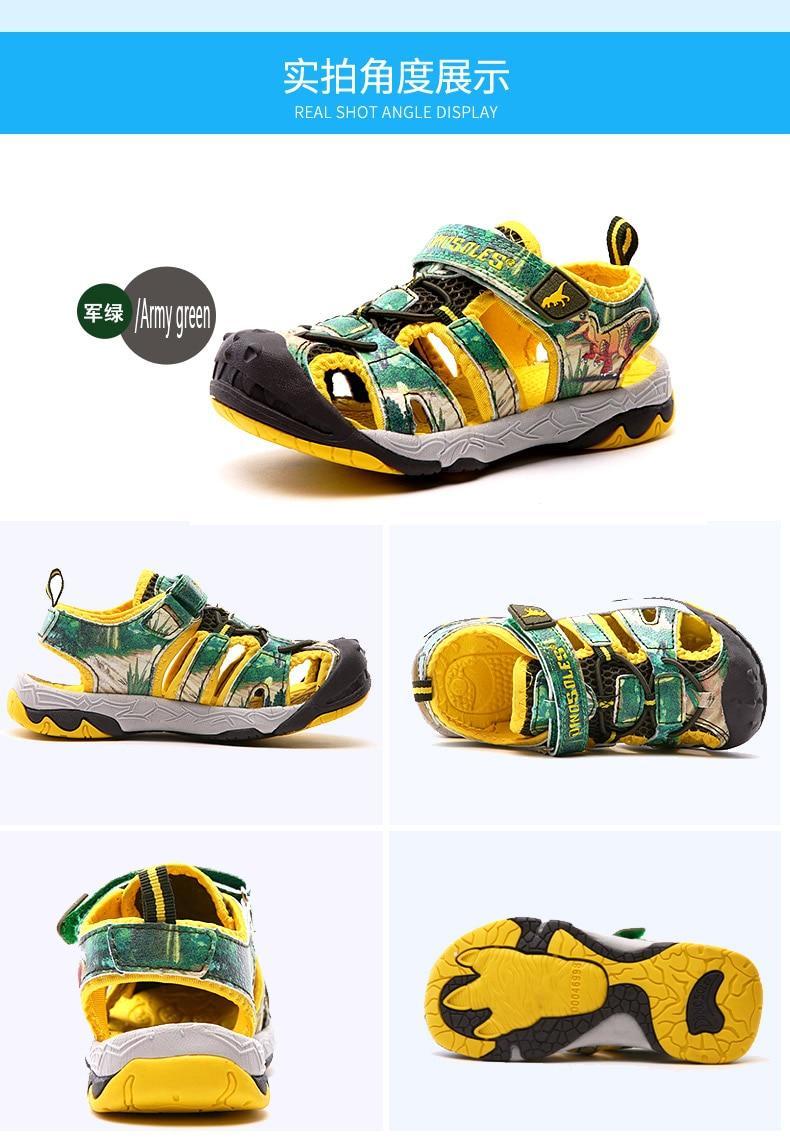 Dinoskulls Dinosaur Shoes boys sandals LED Light shoes closed Toe Soft Sole Children's Summer Sandals Kids Beach Sandals fashion