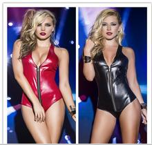 Buy 2018 Hot Sexy Lingerie Latex Pvc Jumpsuit Zentai Costume Women's Black Catsuit Pole Dance Clothes playsuit Nightclub Bodysuit