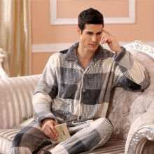 Pajamas Suit Sleepwear Flannel Warm Winter Clothing Casual Home for Men Thick 2pcs