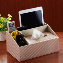 quality leather household box tissue pumping box desktop remote control storage box fashion napkin holder tissue box SNH002(China)