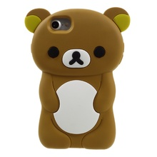 Cover Bag for iPhone 7 7Plus SE 5 Silicone Cases Cute 3D Rilakkuma Silicone Phone Accessories Case for iPhone 7 4.7 inch - Brown