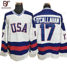 BONJEAN USA Team Ice Hockey Jersey 1980 Miracle On Ice Team USA 17# Jack O'Callahan Stitched Winter Sport Wear White(China)