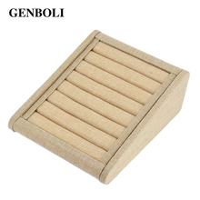 GENBOLI Linen Jewellery Rings Display Tray Rack Stand Etagere Storage Holder Ring Show Organizer Packaging Box Casket