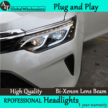 A&T Car Styling for Toyota Camry V55 LED Headlight 2015 New Camry Headlights drl Lens Double Beam H7 HID Xenon