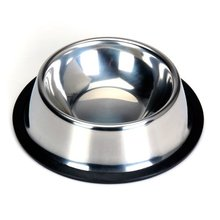 Stainless steel food bowl w / rubber ring for Pets - 1 #