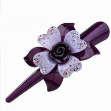 Newest High Quality Hairpin Crystal Flower Rhinestone Hair Clips Hairgrips Purple Barrettes For Girls Headdress Hairpin