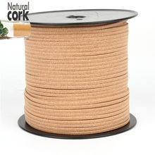 2 meter Natural cork 5mm flat cord natural 5mm leather finding jewelry supplies Environmentally Friendly material Cor-119(Portugal)