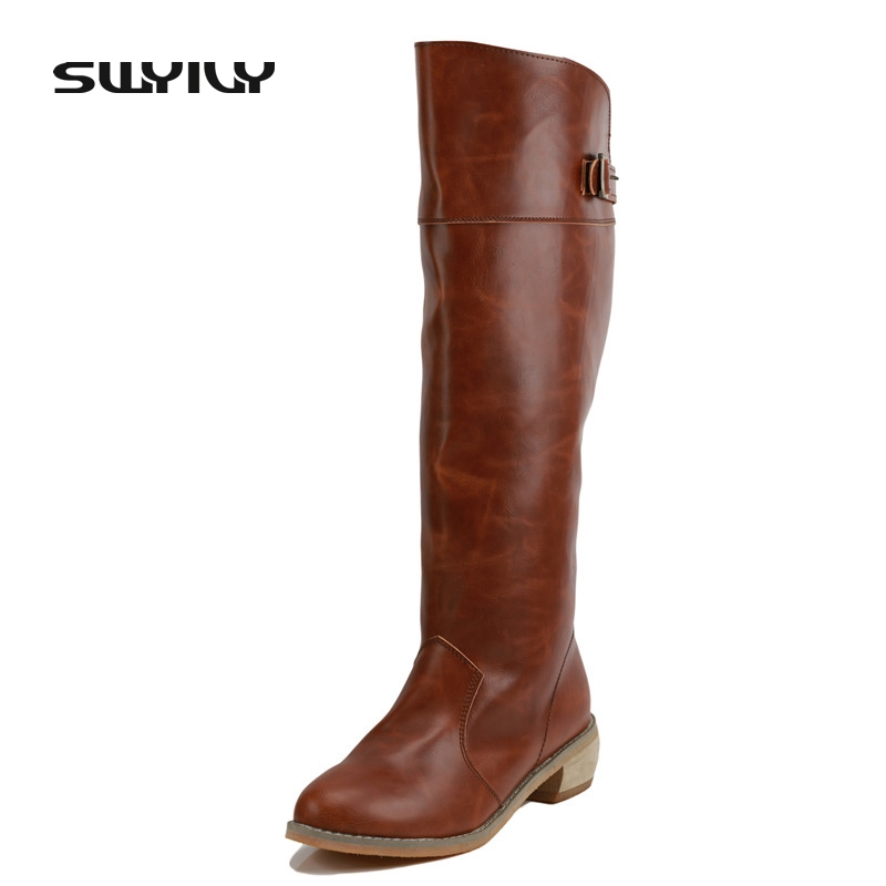 New Arrived Genuine Leather Hot Selling Female Leisure Tall Boots Autumn Winter Solid Color Thick Heel High Boots Botas Altas<br>