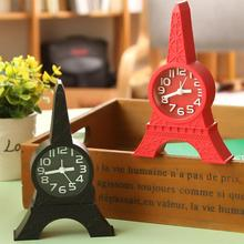 Eiffel Tower Shape 3D Paris Design Quartz Alarm Clocks,La Tour Eiffel In 1996 April Build Up,Table Alarm Black Red Color