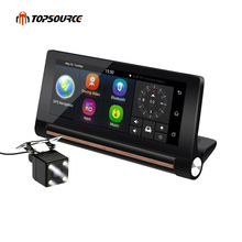 TOPSOURCE 2017 3G Car GPS Navigation Dual Camera Bluetooth Android gps Navigator Automobile with  Car DVR sat nav Free GPS maps