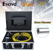 "Eyoyo 30M 7"" LCD 23mm Wall Drain Sewer Pipe Line Inspection Camera System CCTV Cam 1000TVL Snake Inspection Color HD Sun Shield(China)"