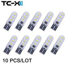 10pcs/lot Car Styling Clearance Lights 12V Interior LED T10 2835 W5W 6 SMD Wedge Side Bulb Lamp Waterproof Dome Light  Universal