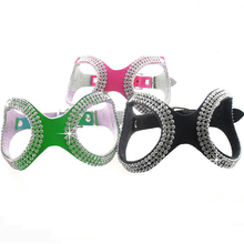 S M L New Fashion Glasses Style Bling Crystals Pet Dog Harness Collar Black Green Rose Rhinestone Leather Harness for Small Dogs(China)