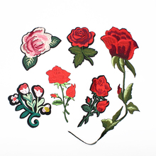 Embroidery Patches For Clothing 1Pcs Mulity Red Flowers Iron On Patches Punk Motif Applique DIY Accessory Clothes Stickers(China)
