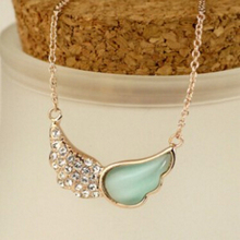 XL 0338 2016 female fashion jewelry opal color crystal necklace Angel wings necklace wholesale factory outlets
