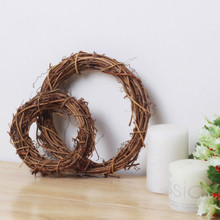 12pcs/lot  15cm 5.9 inch  Christmas Rattan Ring American Style Natural  Circle Rattan Festive  Shop Window Door Hanging Wreaths