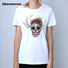 Loose t shirt women Dark Souls Female tops Skull Flowers tshirts Short Sleeve O Neck Tees Soft Cotton tops Youth Free t-shirt(China)