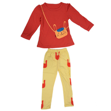 ABWE Girls Sets Kids Apparel spring autumn 2pcs Set shirt+pants children clothing suits sportswear set rabbit red