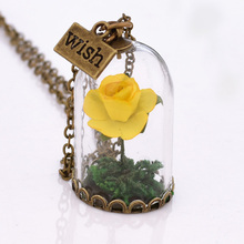 Gift For Mother's Day Glass Dried Flower Wish Bottle Natural Yellow Rose Charm Pendant Necklace For Women Jewelry Best Friend