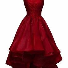 bbbd4d3a8a8 KapokBanyan Real Photo Deep Red Satin O Neck Lace Short Prom Dresses 2017  Sleeveless Zipper Back
