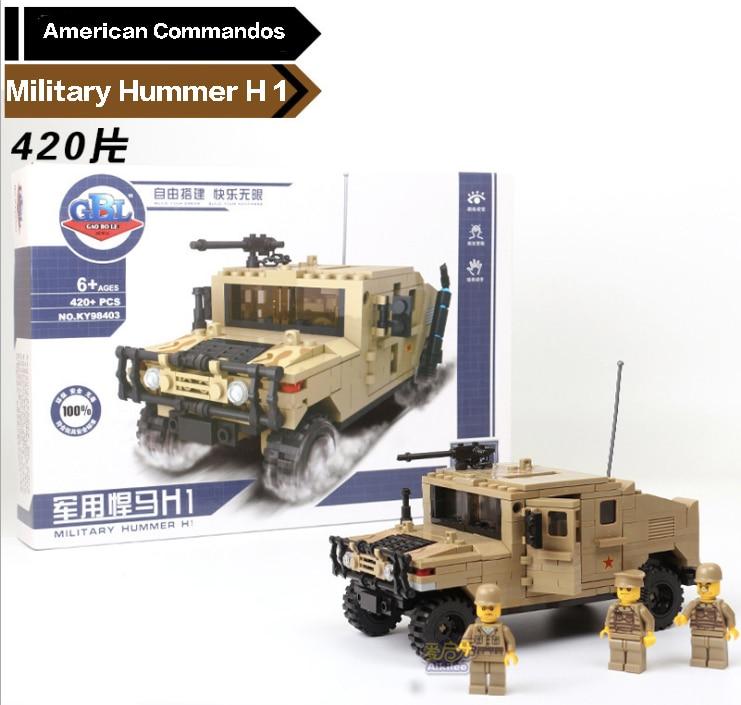 420pcs Building Blocks Hummer Military Series commandos DIY Toys Children Birthday Present Intelligence Plaything<br>