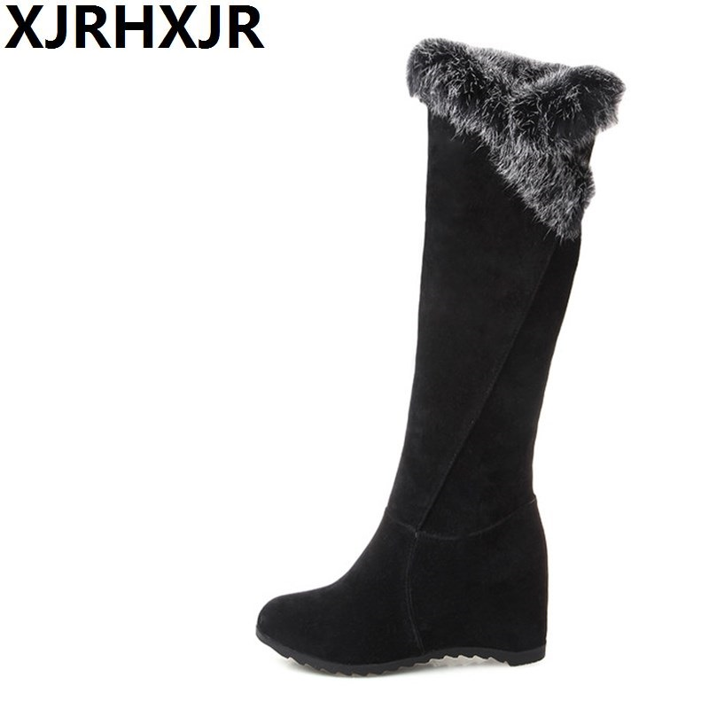 XJRHXJR Size34-43 Faux Fur Flat Hidden Heels Long Boots Women Fashion Wedges Knee High Warm Shoes Ladies Winter Plush Snow Boots<br>
