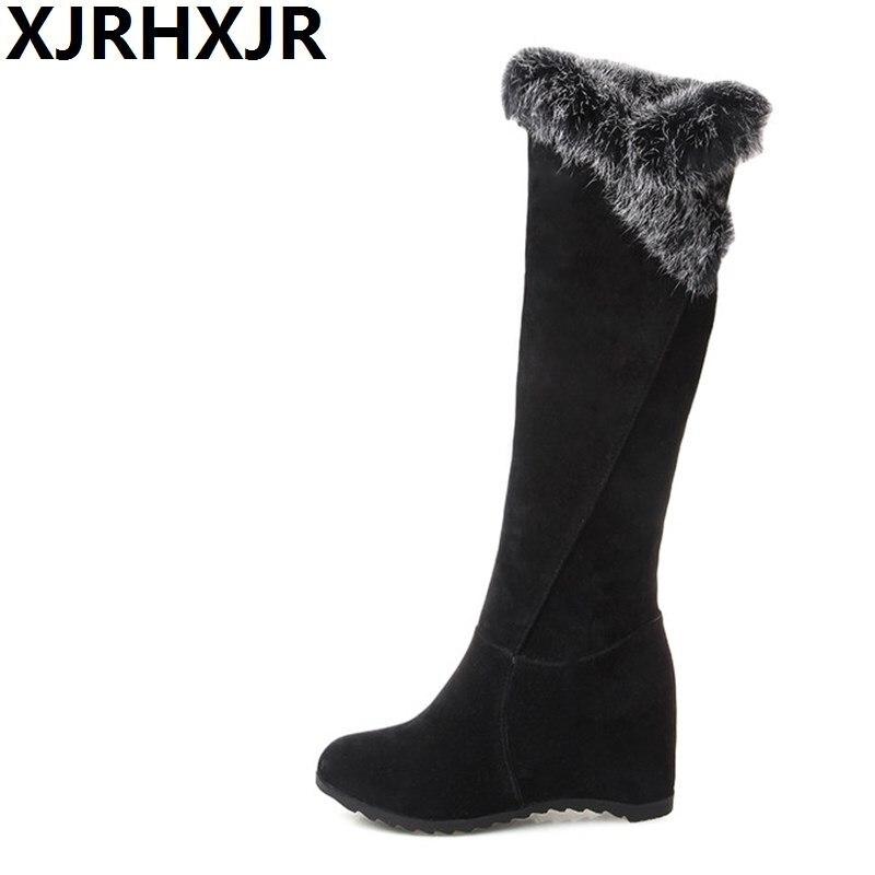 XJRHXJR Size34-43 Faux Fur Flat Hidden Heels Long Boots Women Fashion Wedges Knee High Warm Shoes Ladies Winter Plush Snow Boots<br>